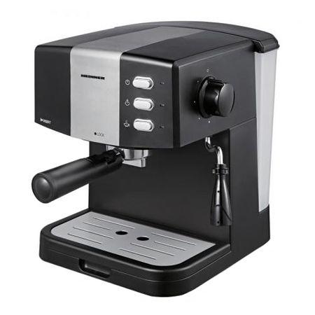Espressor Heinner HEM-850BKSL, 850 W, 1.5 L, 15 bar, filtru dublu din inox, Negru/Argintiu
