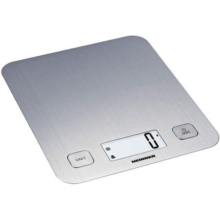 Cantar de bucatarie Heinner HKS-5IX, 5 Kg, 1 g, tara, functie cantarire lichide, display LCD, Inox