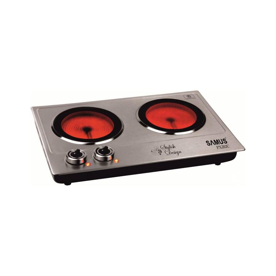Plita electrica Samus PX202C, 2400 W, 2 arzatoare, termostat reglabil, argintiu