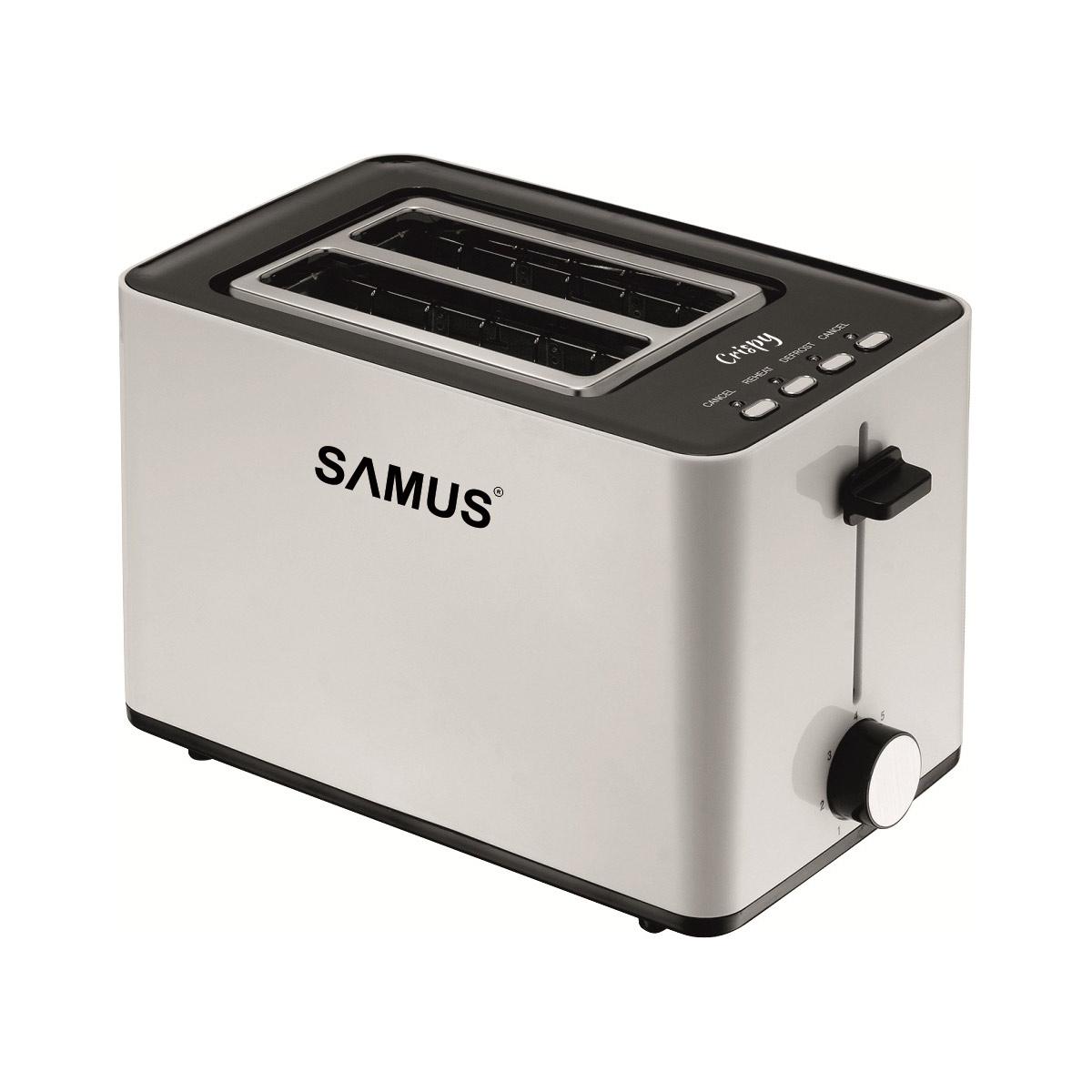 Prajitor de paine Samus Crispy, 850 W, 2 felii, 6 niveluri de prajire, Decongelare, Mecanism automat de ridicare a feliilor, Argintiu