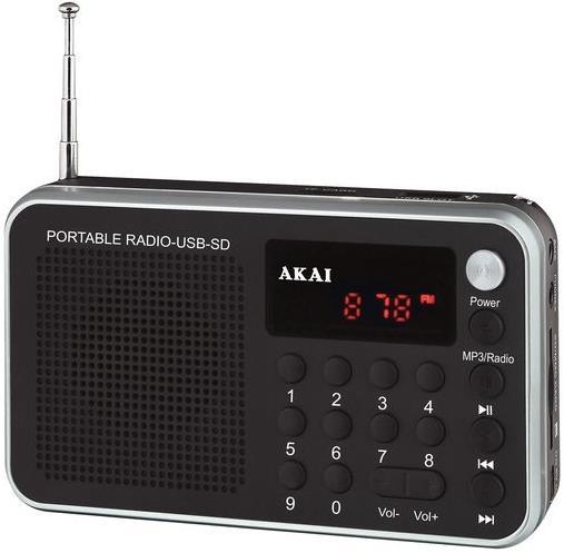 Radio portabil Akai DR002A-521, USB, Negru