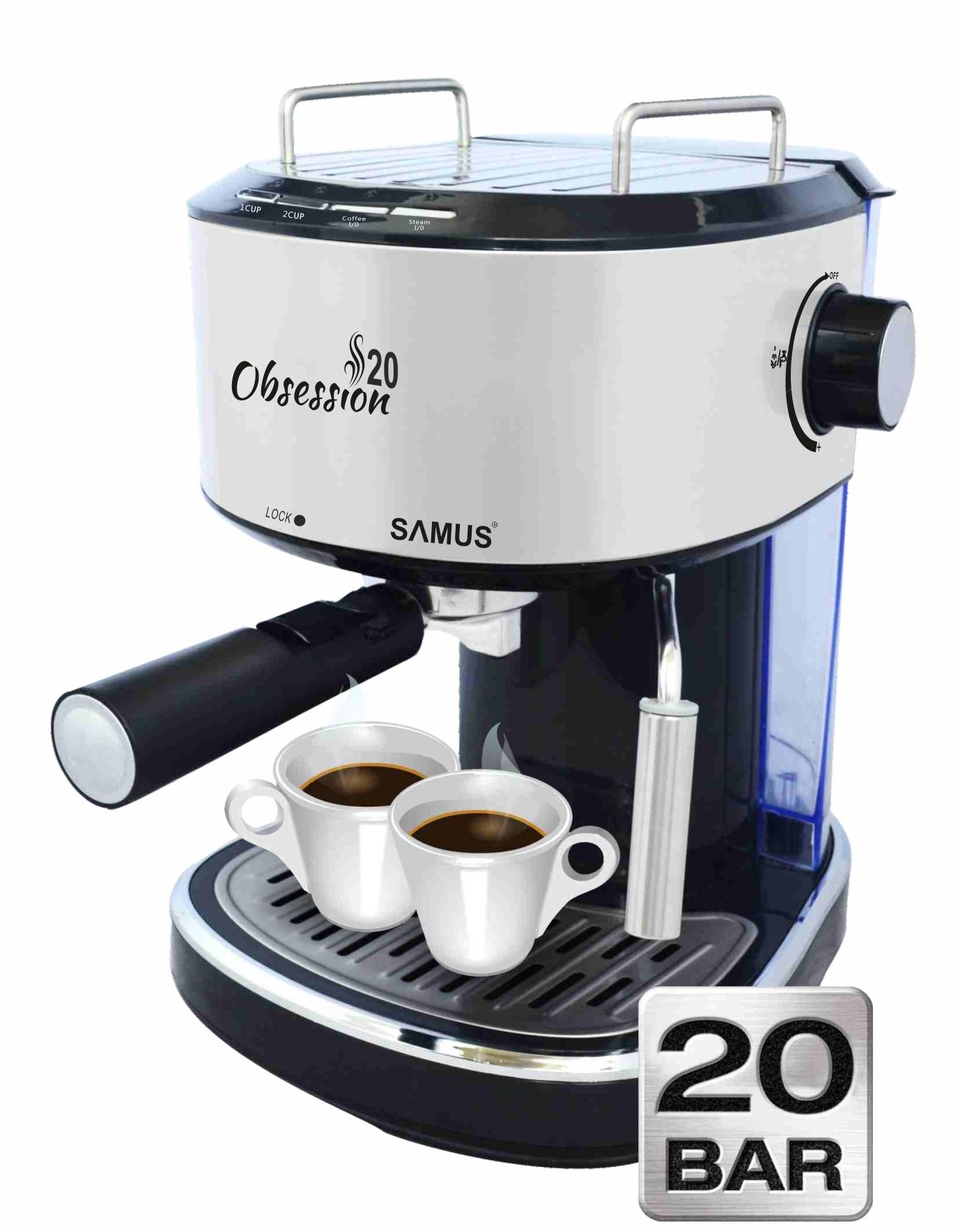 Espressor Samus Obsession 20, Presiune 20 bari, 1.2 L, Dispozitiv spumare, Filtru inox, Buton 1 ceaşcă/2 ceşti, Negru/Inox
