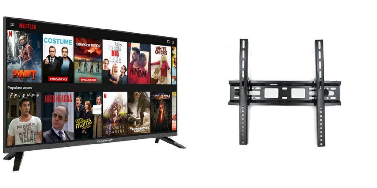 "Pachet Televizor Smart LED, Diamant 32HL4330H/A, 80 cm, HD si Suport TV de perete HT-002, Reglabil, diagonala, 32-55"""