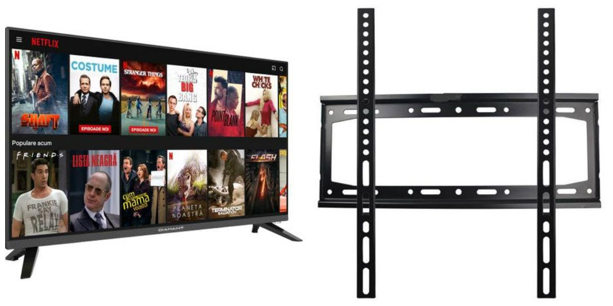 Pachet Televizor Smart LED, Diamant 32HL4330H/A, 80 cm, HD si Suport TV RTS, RDB-47 B41, Fix, diagonala 26-55 ' , negru