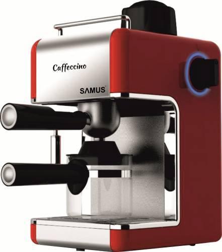 Espressor Samus Caffeccino Red, 3.5 bari, Rezervor 0.24 L, Capacitate 4 ceşti, Filtru inox, Duză cappuccino, Carafă gradată, Rosu/Inox