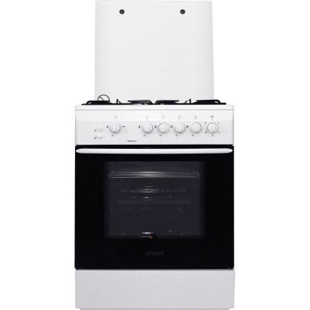 Aragaz Samus SM 650 APGLS, 60 cm, Arzator WOK, Arprindere electrica, Siguranta plita + cuptor, Geam dublu la cuptor, Timer, Grill, Alb