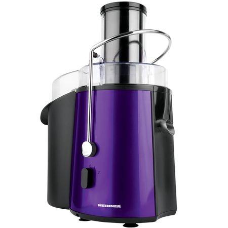 Storcator de fructe si legume Heinner XF-1000UV, 1000 W, Recipient suc 1 l, Recipient pulpa 2 l, 2 Viteze, Tub de alimentare 75 mm, Violet