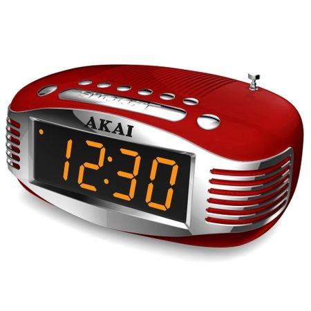 Radio cu ceas Akai CE-1500, AM/FM, Ecran LED, Sleep Timer, Rosu