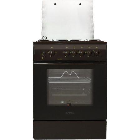 Aragaz Samus SM 650 MPGRS, 60 cm, Arzator WOK, Arprindere electrica, Siguranta plita + cuptor, Geam dublu la cuptor, Timer, Grill, Rotisor, Maro
