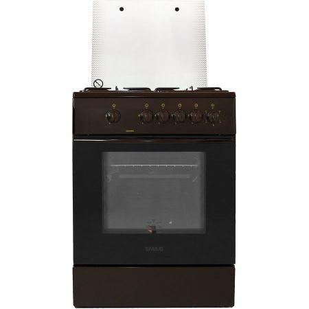 Aragaz Samus SM 650 MBS, 60 cm, Arzator WOK, Siguranta plita + cuptor, Geam dublu la cuptor, Timer, Maro