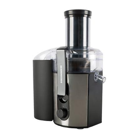 Storcator de fructe Heinner HJE-1000IX, 1000 W, Inox Slefuit, recipiente pentru suc/pulpa, 2 viteze, Negru/ Inox