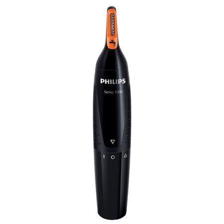 Trimmer pentru nas/urechi Philips NT1150/10, baterii, otel inoxidabil, Negru
