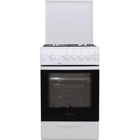 Aragaz Samus SM 550 APBS, 4 arzatoare, Aprindere electrica, Siguranta plita + cuptor, 3 Ani garantie, Alb
