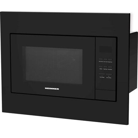 Cuptor cu microunde incorporabil Heinner HMW-23BI-BK, 23 l, 800 W, Digital, Timer, Grill, Sticla neagra