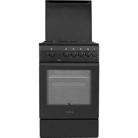 Aragaz Samus SM 550 BBS, 4 arzatoare, Siguranta plita + cuptor, Timer, Negru