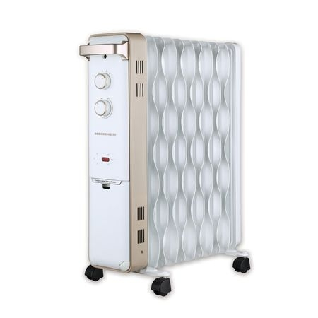 Calorifer electric cu ulei Heinner HCU-S11WGD, 2500 W, 11 elementi, 3 trepte de putere, design ECO al elementilor, termostat ajustabil, Alb cu insertii aurii